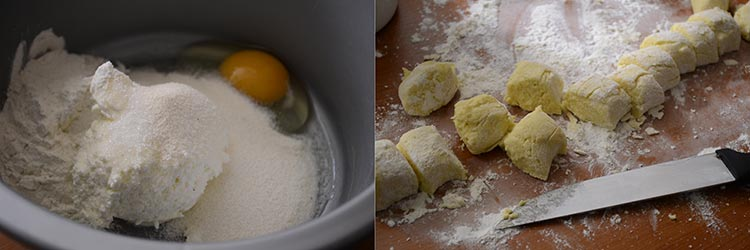 Papanasi fierti cu branza si pere caramelizate
