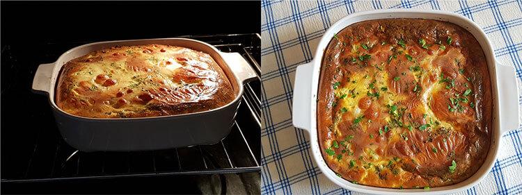 lasagna cu cartofi si sunca coacere