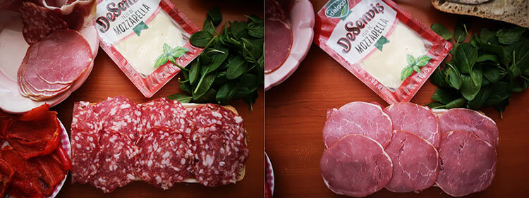 sandvis cu preparate din carne