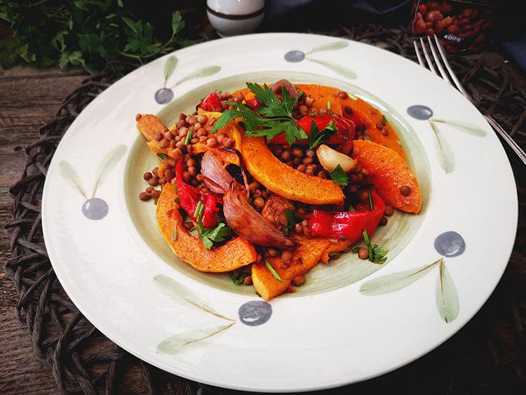 Salata de linte cu dovleac copt