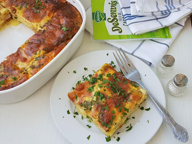 Lasagna cu cartofi si sunca