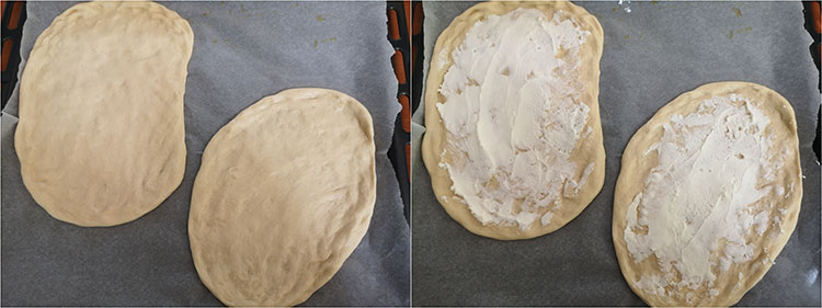 preparare pizza mozzarella